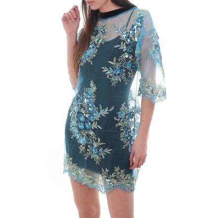 Ragyard paljett blommig klänning M