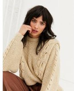 Topshop – Beige, kabelstickad tröja med vida ärmar