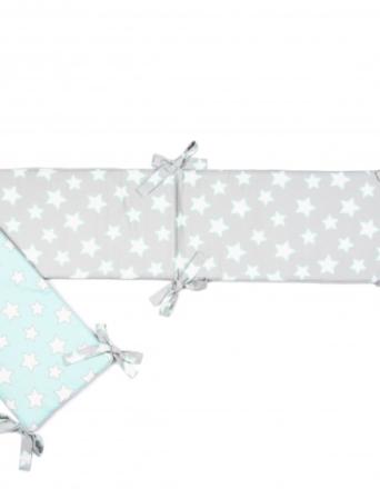 Ochraniacz do łóżeczka Mint & Grey Stars
