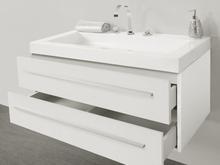 Beliani Badrumsmöbler väggskåp spegel och tvättställ vit BARCELONA