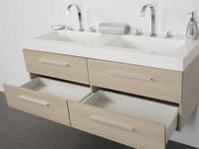 Beliani Badrumsmöbler väggskåp spegel och 2 tvättställ beige MALAGA