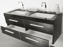 Beliani Badrumsmöbler väggskåp spegel och 2 tvättställ svart MALAGA