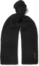 Ribbed Wool Scarf - Black