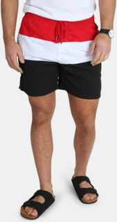 Urban Classics Color Block Swim ShortsBlack/Firered/White