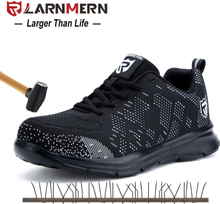LARNMERN Mens Steel Toe Safety Work Shoes Lightweight Breathable Anti-smashing Anti-puncture Reflective Casual Sneaker