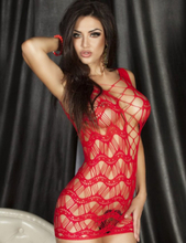 Röd Crocheted Lace Hollow-Out Chemise Dress