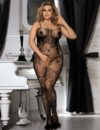 Crotchless Floral Fishnet Bodystocking