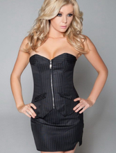 Office Lady Pinstripe Corset With Skirt