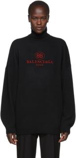 Balenciaga Black Wool and Cashmere Logo Turtleneck