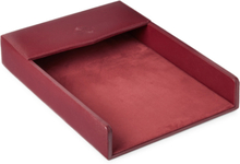 Textured-leather Desk Tray - Merlot