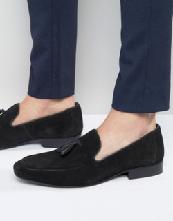 Red Tape Tassel Loafers In Black Suede - Black