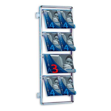 Brochurestativ Alumina Væg 4x2 A4