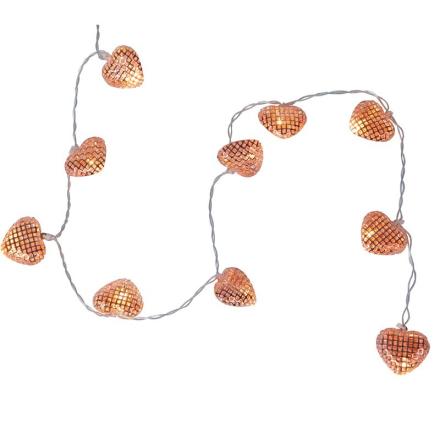 Lyskæde Hjerter Kobber 90 cm LED/Batteri - Lampan