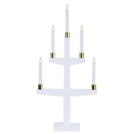 Halla Hvid/Messing 5-armet LED-lysestage - Lampan