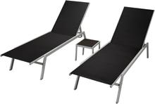 vidaXL Aurinkotuolit 2 kpl ja pöytä teräs & textilene musta