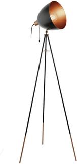 EGLO Gulvlampe CHESTER svart og kobber 49386