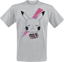 Pokémon - Pikachu -T-skjorte - gråmelert