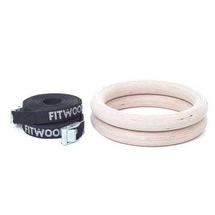 FitWood Olympic Gymnastikringe 28mm - Træ-overflade / Sort Strop