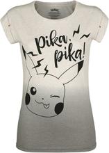 Pokémon - Pikachu - Pika, Pika! -T-skjorte - hvit, grå