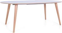 Hvidt rundt spisebord med udtræk 120/160/200 cm, 2 stk tillægsplader - Nora