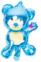 BasicsHome Folie Figur Ballon Mini Blå Bamse 1 stk