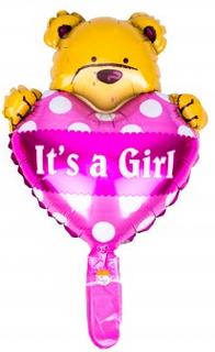 BasicsHome Folie Figur Ballon It's A Girl Bamse 1 stk