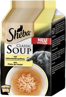 Multipakke Sheba Classic soup porsjonsposer 4 x 40 g - Kyllingbryststriper