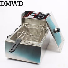 Electric deep fryer Multifunctional Household Commercial Stainless steel Grill Frying pan French fries machine hot pot 6L 2.5kw