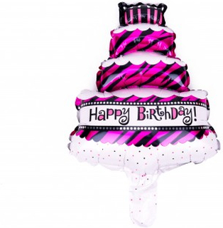 BasicsHome Folie Figur Ballon Happy Birthday Kage 1 stk