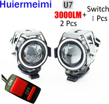 Motorcycle Headlight 3000LM 125W 12V Upper Low Beam Flash U7 LED Driving Moto Fog Spot Head Light Motorbike Auxiliary Lamp DRL