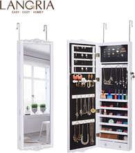 LANGRIA Full-Length Lockable Wall-Mounted Over-the-Door Hanging Jewelry Cabinet Armoire with LED Lights 3 Adjustable Heights