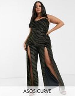 ASOS DESIGN Curve – Jumpsuit i sammet med glitter, smala axelband och lårhög slits-Svart