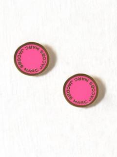 Marc Jacobs Enamel Logo Disc Studs Örhängen Pink
