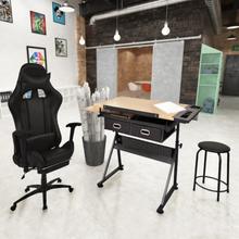 vidaXL tegnebord med vipbar bordplade og racer-kontorstol