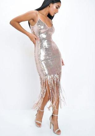 Paljett Strappy Frans nertill Mini klänning Rose Gold