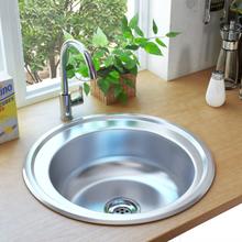 vidaXL køkkenvask med strainer og vandlås rustfrit stål