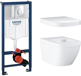 Komplet pakke m/Grohe Rapid SL cisterne, trykknap, Grohe Euro hængeskål & sæde