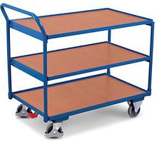 Etagenwagen mit 3 Holzböden, waagrechtem Griff und 102,5 cm Länge