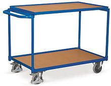 Etagenwagen mit 2 Holzböden, waagrechtem Griff, 117,5 cm Länge