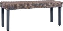 vidaXL Bänk 110 cm grå naturlig kubu-rotting och massivt mangoträ