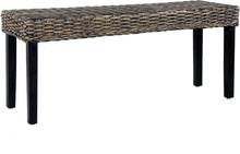 vidaXL Bänk 110 cm svart naturlig kubu-rotting och massivt mangoträ