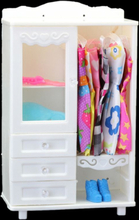 1 Pcs High Quality Doll Wardrobe for Barbie Doll White DIY Furniture Dress Clothes Doll Accessories Playhouse Kids Toy