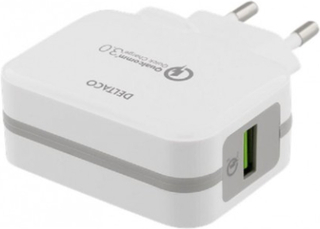 DELTACO Laddare 5V USB Qualcomm Quick Charge 3.0 19,5W Vit