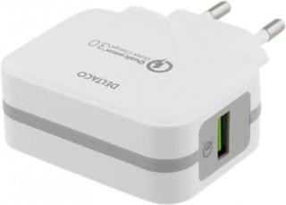 DELTACO Laddare 5V USB Qualcomm Quick Charge 3.0 19,5W Vit