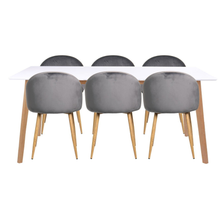 Essgruppe | Esstisch Weiß mit 6 Samt Stühlen Grau - Malte (ab Kalenderwoche 31 lieferbar)