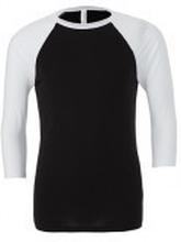 Unisex 3/4 Sleeve Baseball Tee Black/White