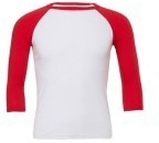 Unisex 3/4 Sleeve Baseball Tee White/Red