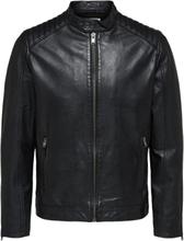 SELECTED Lamb - Leather Jacket Men Black