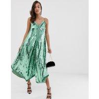 ASOS EDITION - midiklänning med paljetter och smala axelband - Grön