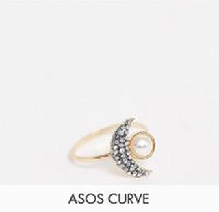 ASOS DESIGN Curve – Guldfärgad ring med måne och syntetopal